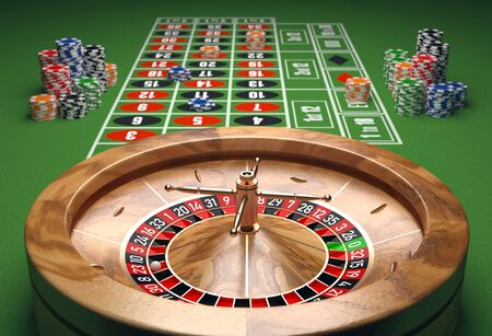 Casino table with roulette and chips. 3D illustration