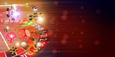 Casino Roulette theme background illustration with roulette wheel, flying casino chips and dice. Raster illustration