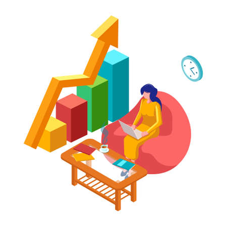 Manage your business page illustration Header Banner. Woman with laptop and 3d infographic. Isometric Workspace illustration. - Vector Ilustração