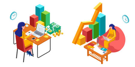 Set of business management illustration concept. Woman with laptop and 3d infographic. Isometric Workspace illustration. - Vector