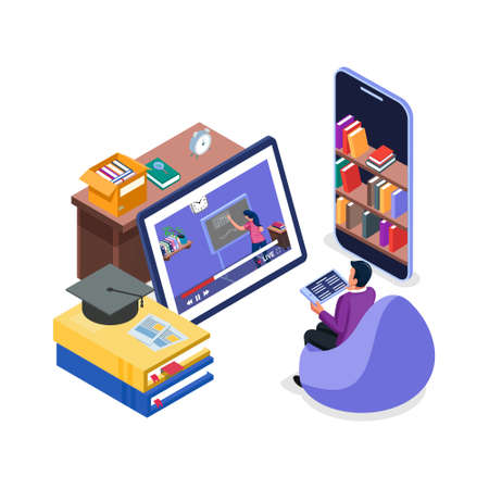 Student watch online course video in tablet. e-learning illustration concept. Modern flat design isometric concept of Online Education for website and mobile website. Landing Page Template.