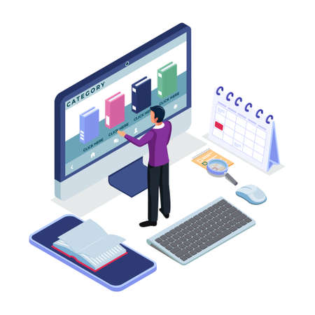 Male search a book category in e-book application. Modern flat design isometric concept of Online Education for website and mobile website. Landing Page Template.