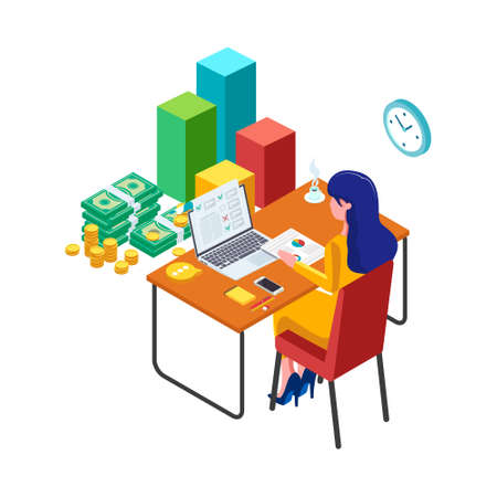 Female do financial management. Business Technology concept. Business worker manage, check her financial with laptop. Woman with computer, 3d infographic illustration. - Vector Ilustração