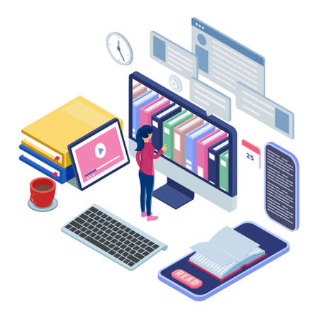 Female stand in front of computer and pick book at the online library. E-learning concept with isometric illustration. Computer with smartphone, books, keyboard, cups. Desk equipment. Vector Ilustração