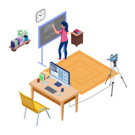 Teacher do online learning and write in the blackboard. Set of Live streaming education concept with camera and computer. Distance studying. Isometric Live recording. Vector
