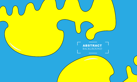 brightly colored Yellow paint drips on blue background. Vector illustration - Vector