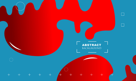 brightly colored red paint drips on blue background. Vector illustration - Vector