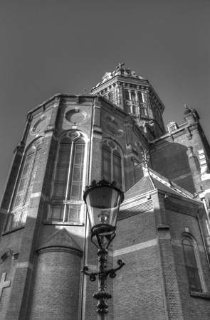 hdri: Latern post with church in Amsterdam, Netherlands
