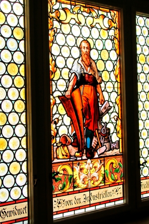 town halls: Stained Glass Painting Town Hall Frydlant