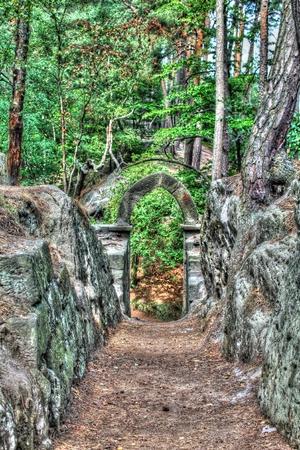 skala: Stone Arch near Vranov Castle Mala Skala Stock Photo