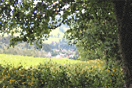 artictic: Artistic Stained Glass Forrest Meadow Background