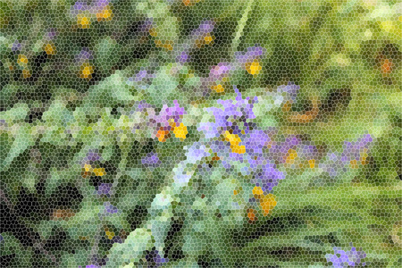 artictic: Artistic Stained Glass Forrest Flowers Background Stock Photo