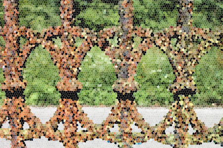 artictic: Artistic Stained Glass Fence Background Stock Photo