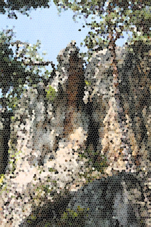artictic: Artistic Stained Glass Rock Hillside Background