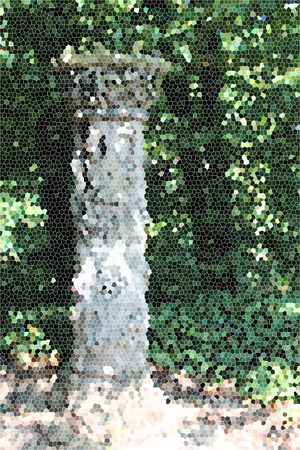 artictic: Artistic Stained Glass Stone Pillar Background Stock Photo