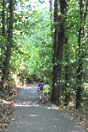 artictic: Artistic Stained Glass Forrest Road Background