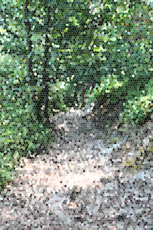 artictic: Artistic Stained Glass Forrest Path Background Stock Photo
