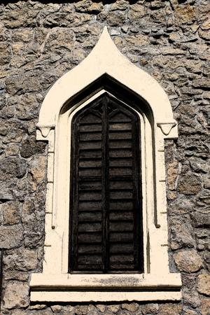 artictic: Artistic Fresco Castle Window Background Stock Photo