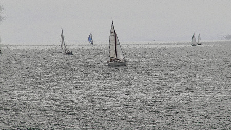 edges: Artistic Posted Edges Sailboats at Sea Background