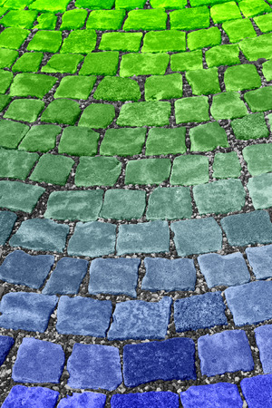 blue green background: Green Blue Street Paving Stones Background Stock Photo