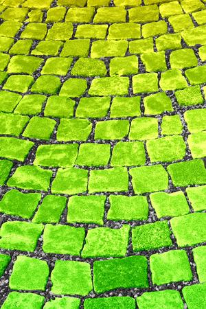 yeloow: Yellow Green Street Paving Stones Background Stock Photo