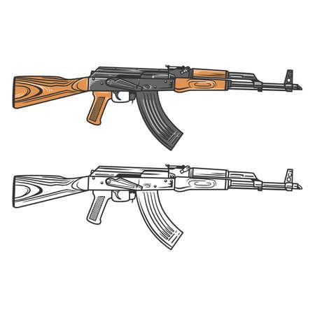 AKM Assault Riffle in Vector Illustration,
