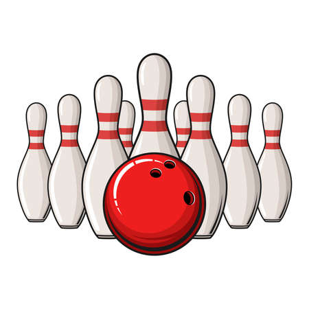 Bowling poster with ball and bowling pins