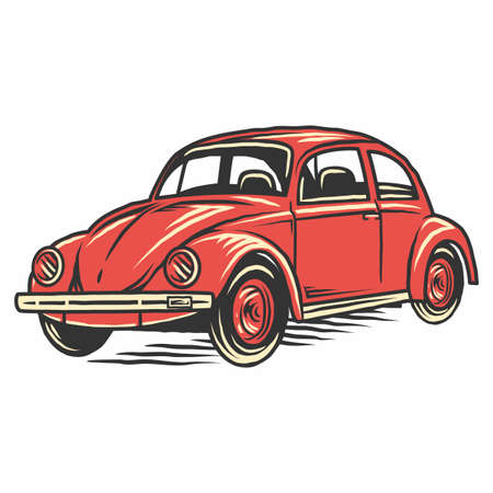 Retro vintage old car illustration