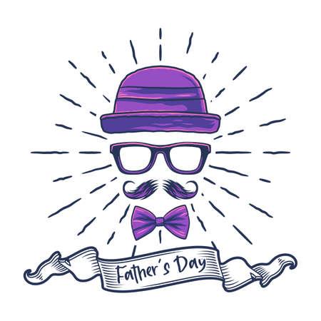 Father Day greeting card vector stylish minimal design. Vintage design