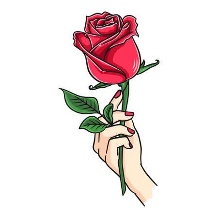 Female Hand Holding Rose Flower Vetores