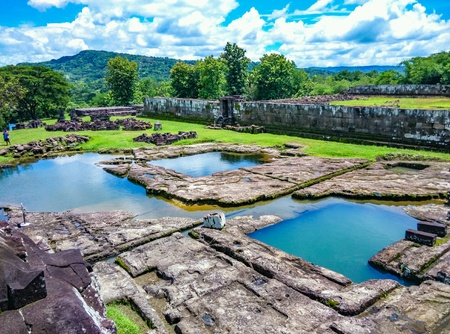 The ruins of ancient pond inside the ratu boko palace near jogjakarta indonesia