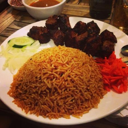 arabic food: Authentic Arabic kebab briyani rice.