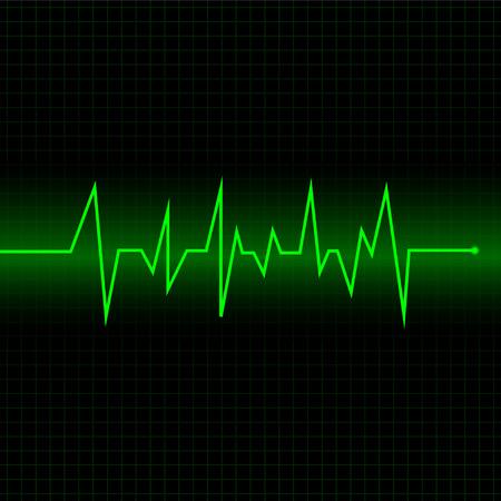 Hartslagcardiogram gebruikt groen en zwart met groene lijnen Vector Illustratie