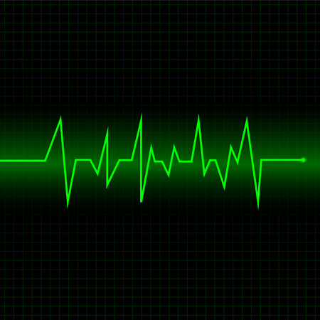 Heart rate cardiogram uses green and black with green lines Фото со стока - 121094940