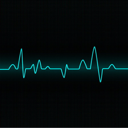 Heart rate cardiogram uses blue and black with blue lines