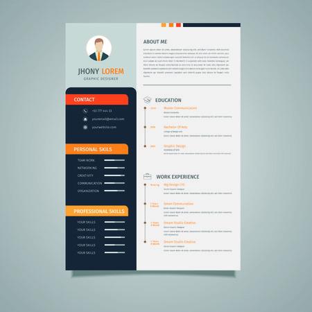 Creative resume template  CV, displaying your profile elegantly - Vector