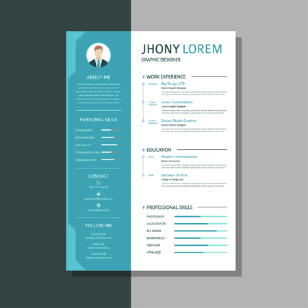 Professional CV Resume Templates with super clean and modern look. The design is easy to use and customizable, so it helps you quickly get a job - Vector Фото со стока - 123161644