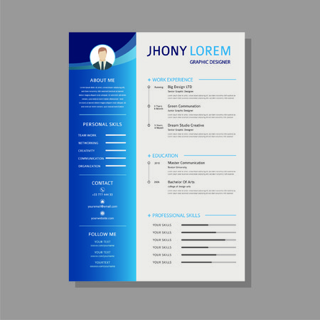 design a resume  curriculum vitae template with a blue gradient - Vector
