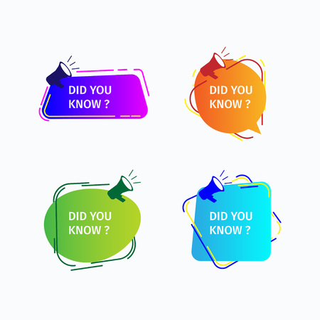 Concept design Did you know the label. Interesting facts bubble talk, knowledge base labels and social media FAQ banners. Isolated on white background Illusztráció
