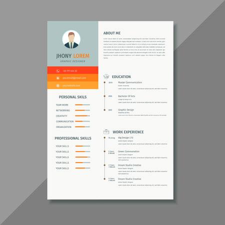 Minimalist resume  cv template, display your profile Иллюстрация