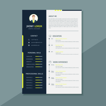 Design a resume / cv template, using black, white and yellow stripes Фото со стока - 124365822