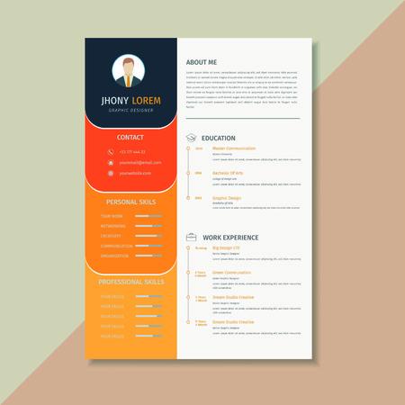 Creative resume template / CV, orange and yellow combination looks elegant Фото со стока - 124365824