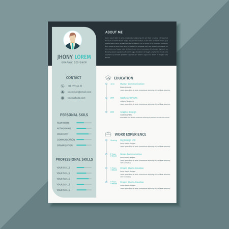 Design template resume / cv, a combination of black and white looks elegant Фото со стока - 124365825