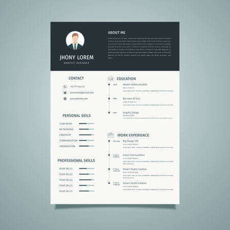 Minimalist resume / CV template design, a combination of black and white looks elegant Фото со стока - 124365827