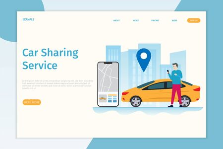 Design mobile city vector illustration landing page concept, Car sharing service online with people characters, smartphones and cities. Can be used for, landing pages, web templates, UI, mobile applications