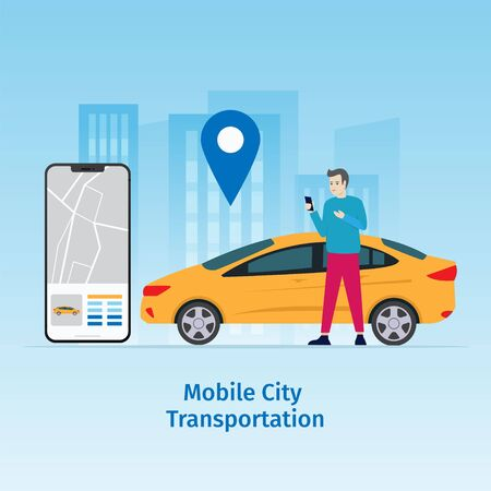 Design mobile city vector illustration concept, Car sharing service online with people characters, smartphones and cities. Can be used for, landing pages, web templates, UI, mobile applications Фото со стока - 126642326