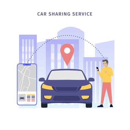 Design mobile city vector illustration concept, Car sharing service online with people characters, smartphones and cities. Can be used for, landing pages, web templates, UI, mobile applications Фото со стока - 126642324