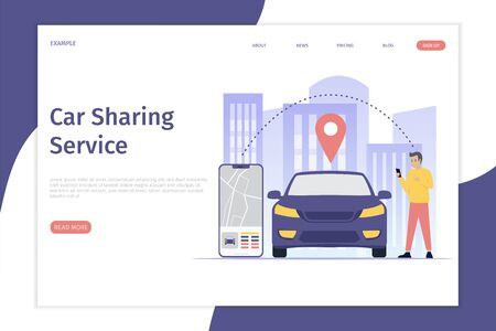Design mobile city vector illustration landing page concept, Car sharing service online with people characters, smartphones and cities. Can be used for, landing pages, web templates, UI, mobile applications Фото со стока - 126642325