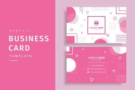 Memphis style creative business card template design with pink color Фото со стока - 127342684