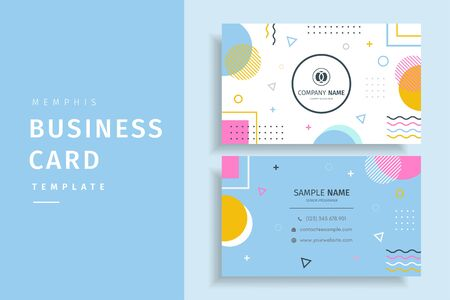 Colorful Memphis style creative business card template design Иллюстрация
